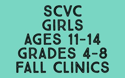 SCVC Girls 11's -14's Fall Clinics