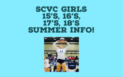 SCVC Girls 15's, 16's, 17's, 18's Tryout & Summer Clinics!!